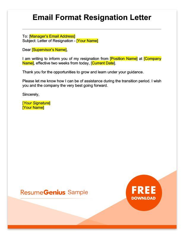 Two Weeks Notice Letter Sample Free Download