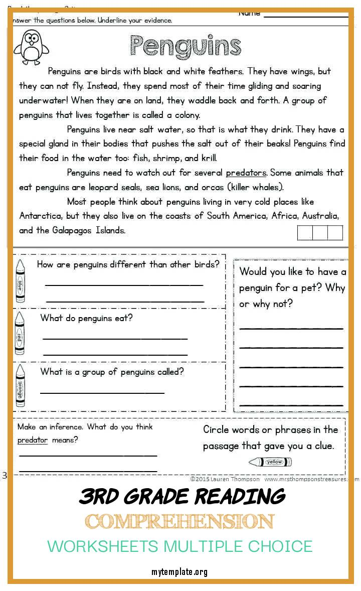 9 3rd Grade Reading Comprehension Worksheets Multiple Choice - Free  Templates
