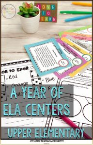 4th Grade Reading Worksheets Of Literacy Centers for Upper Elementary