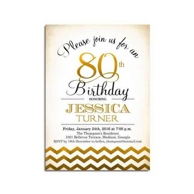 80th Birthday Party Program Template Of 80th Birthday Invitation 90th Any Age Gold White
