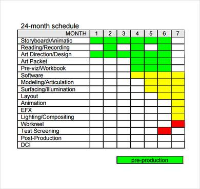 Animated 3D Feature Film Production Schedule Template
