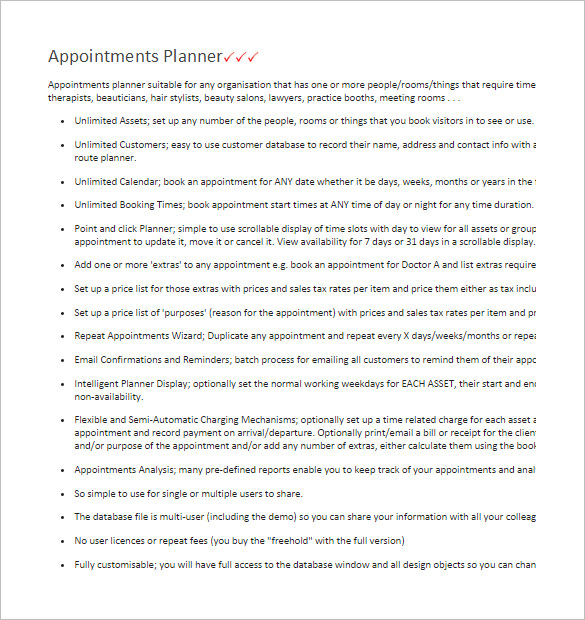 Appointments Planner Access Database Template