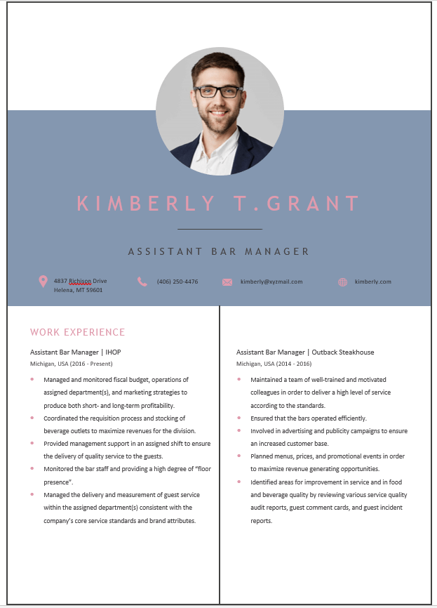 Assistant Bar Manager Resume Template