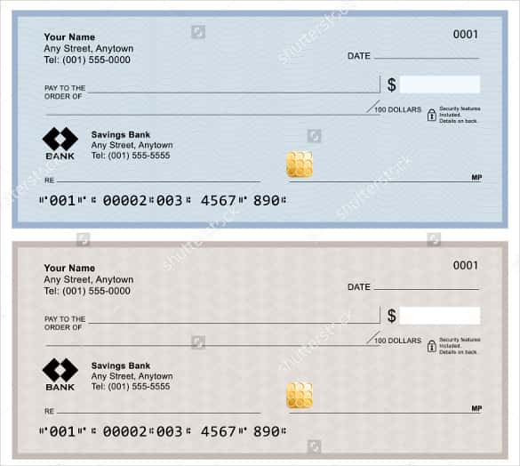 Blank Bank Checks Isolated on White Background
