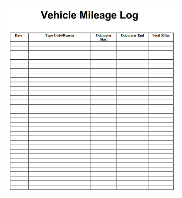 Blank Mileage Log Template