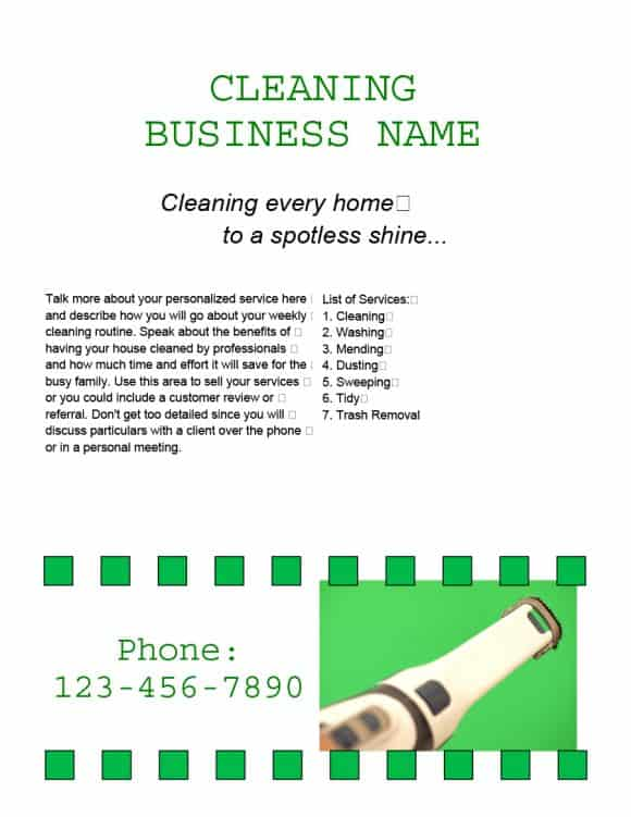CLEANING FLYERS BUSSINES NAME