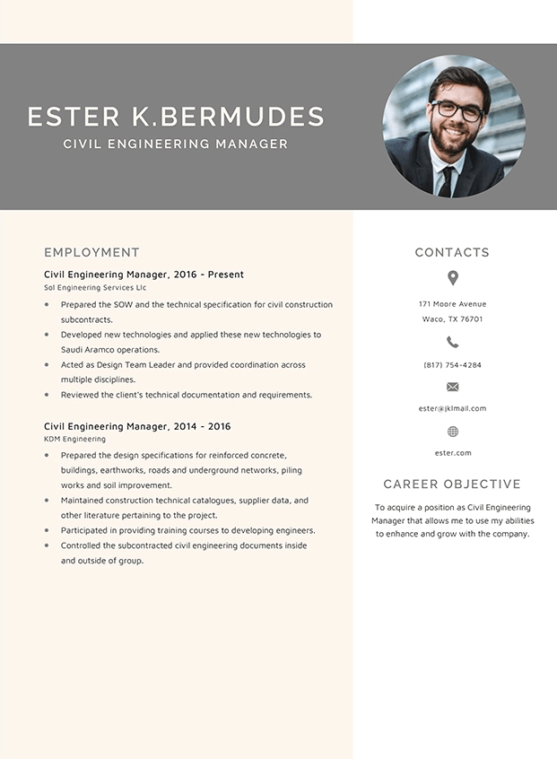 Civil Engineering Manager Resume Template