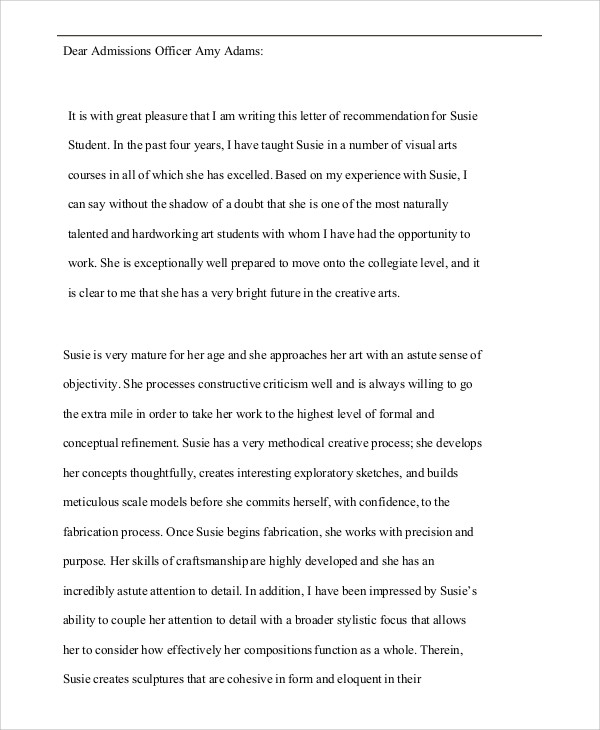 College Application Reference Letter Template