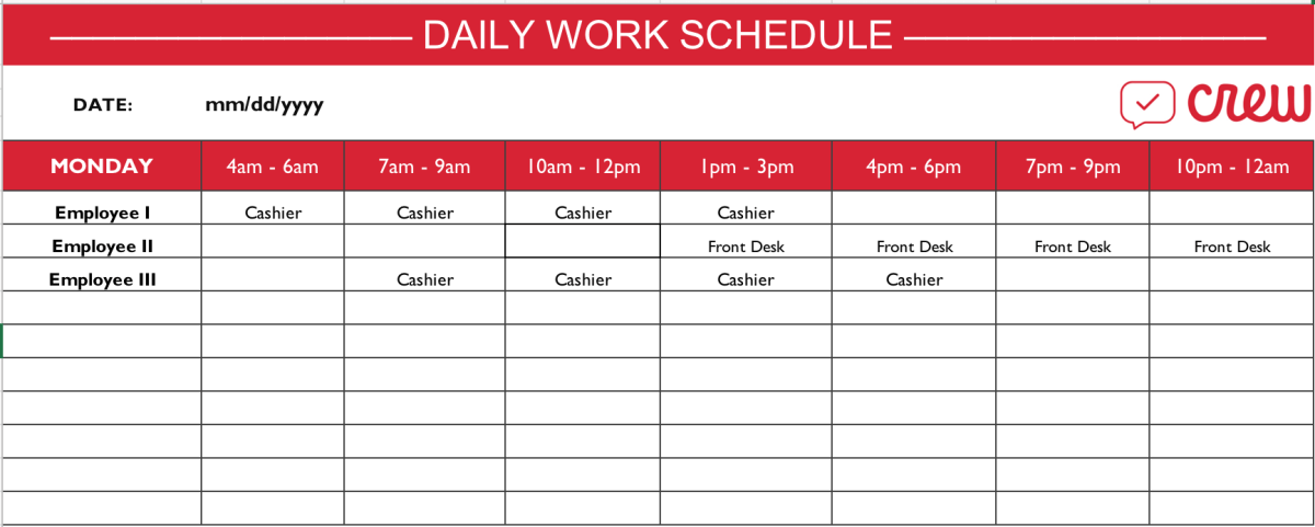 Daily Work Schedule Template