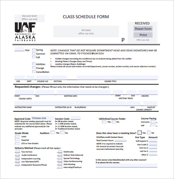 Editable Class Schedule Form Template Free PDF