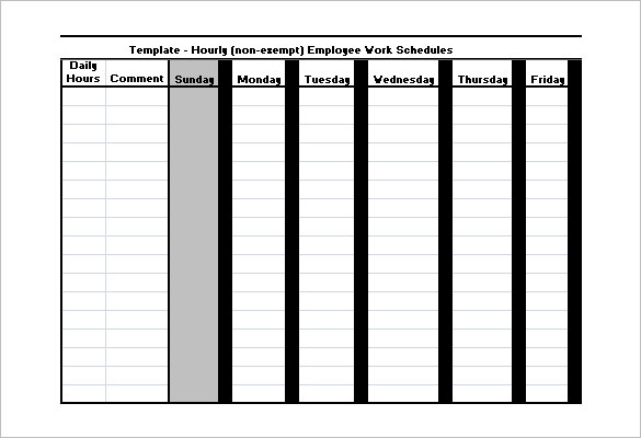 Employee Hourly Work Schedules Request Template