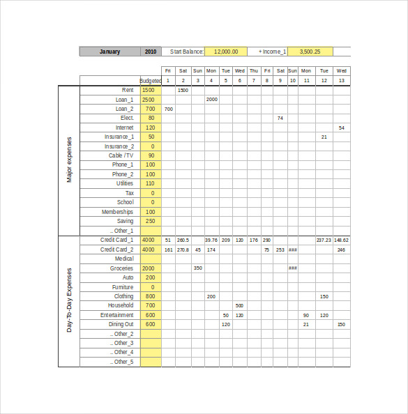 Excel Personal Expense Tracker Template Sample Download