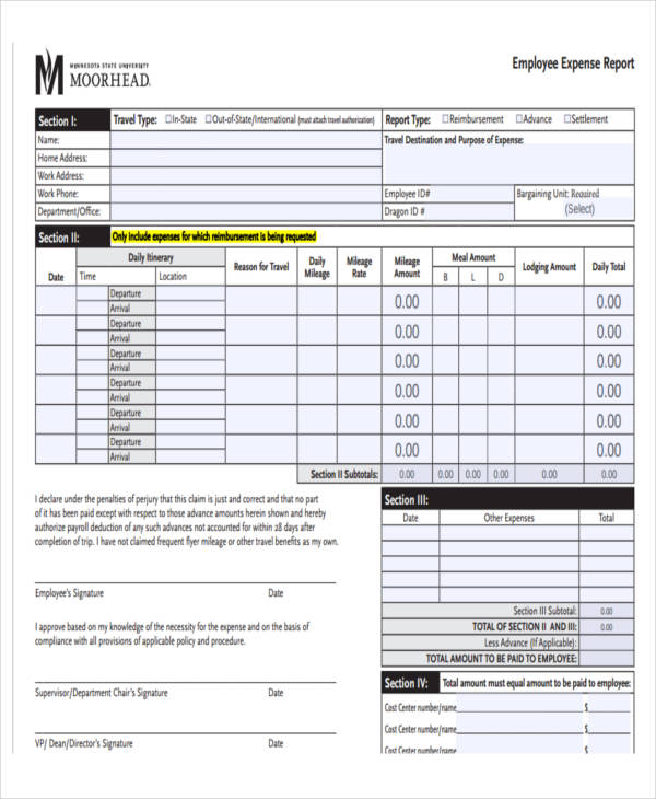 Expense Report Format