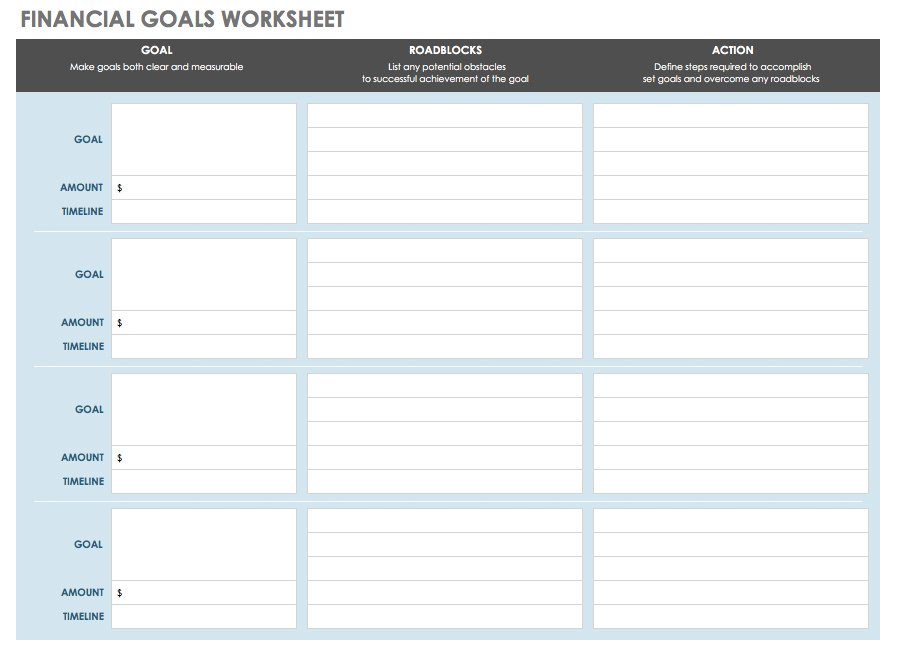 Financial Goals Worksheet Excel Template
