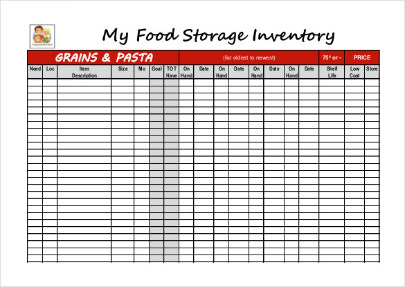 Food Storage Inventory Blank worksheet