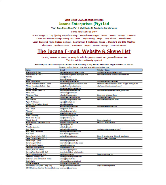 Free Email List Template