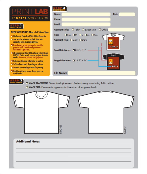 Free PrintLab T-Shirt Order Form Template Download