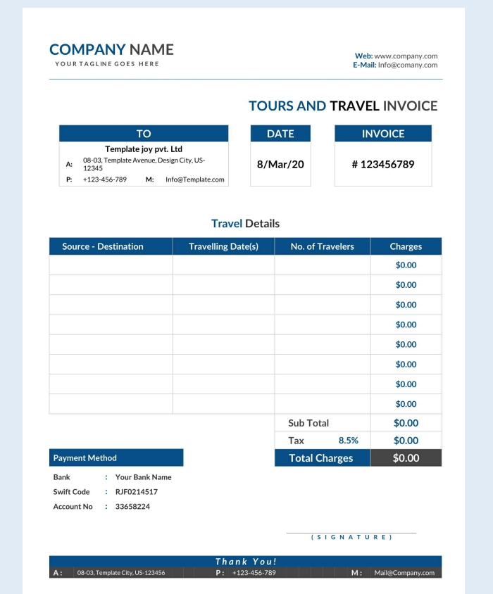 Free Tour and Travel Invoice Form