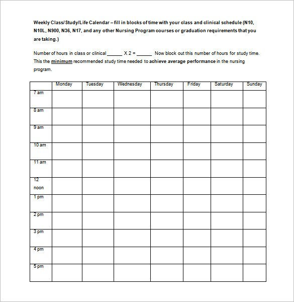 Free Weekly Class Schedule Template Word Doc