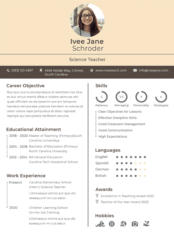 15 Teacher Resume Samples Template Word Pdf Writing Guide