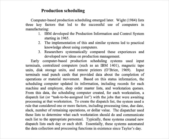 History Of Production Scheduling Template