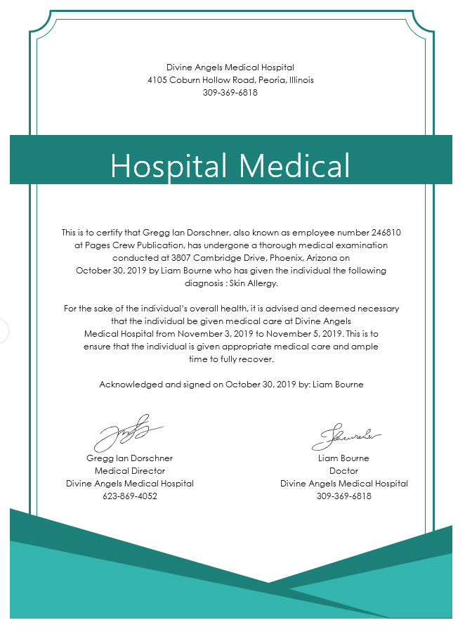 Hospital Medical Certificate Template Free Templates