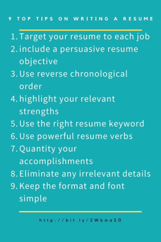 9 Top Tips on Writing a Resume