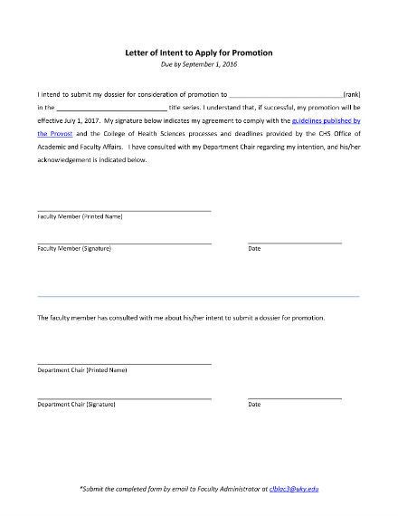 Letter Of Promotion Policy Template