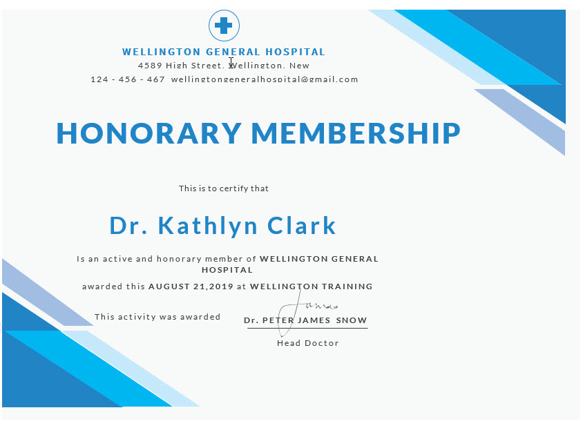 Medical Membership Certificate