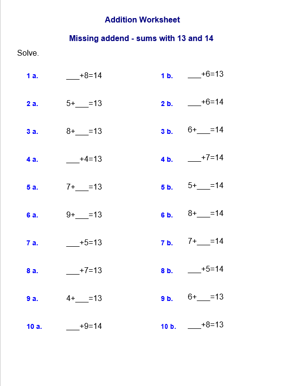 Missing addend - sums with 13 and 14 worksheet template grade 2