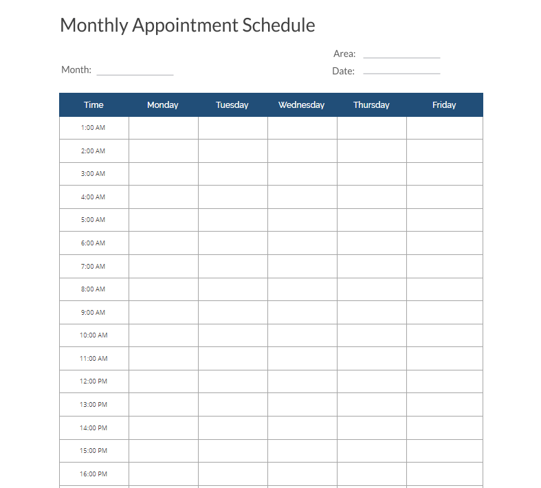 Monthly Appointment Schedule Template