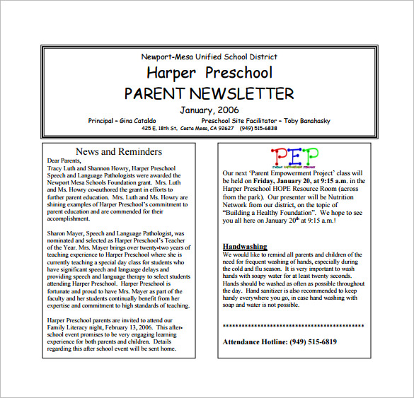 Preschool Parent Newsletter PDF Download