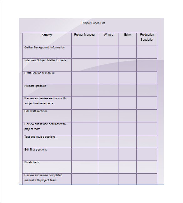 Project Punch List Template Example