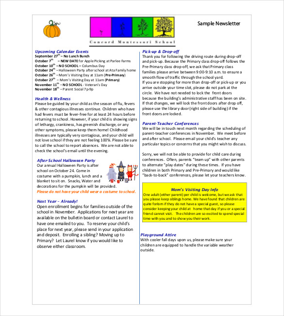 Sample Classroom Newsletter Template Free Download