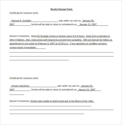 Sample Doctor Note Template for Word Doc