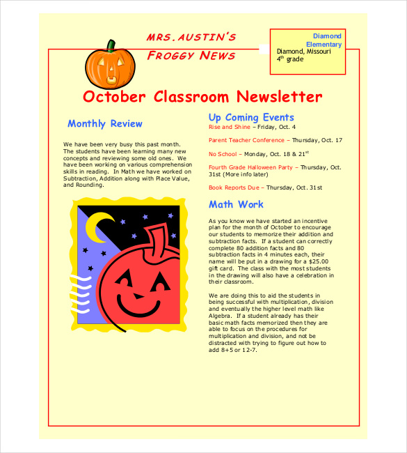 Sample Month Classroom Newsletter Template