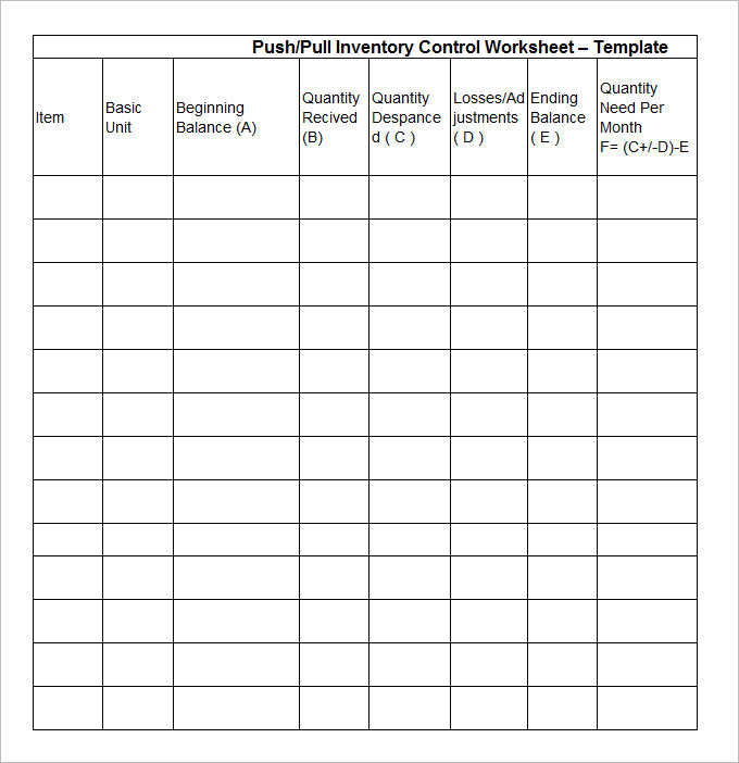 Sample Stock Inventory Template