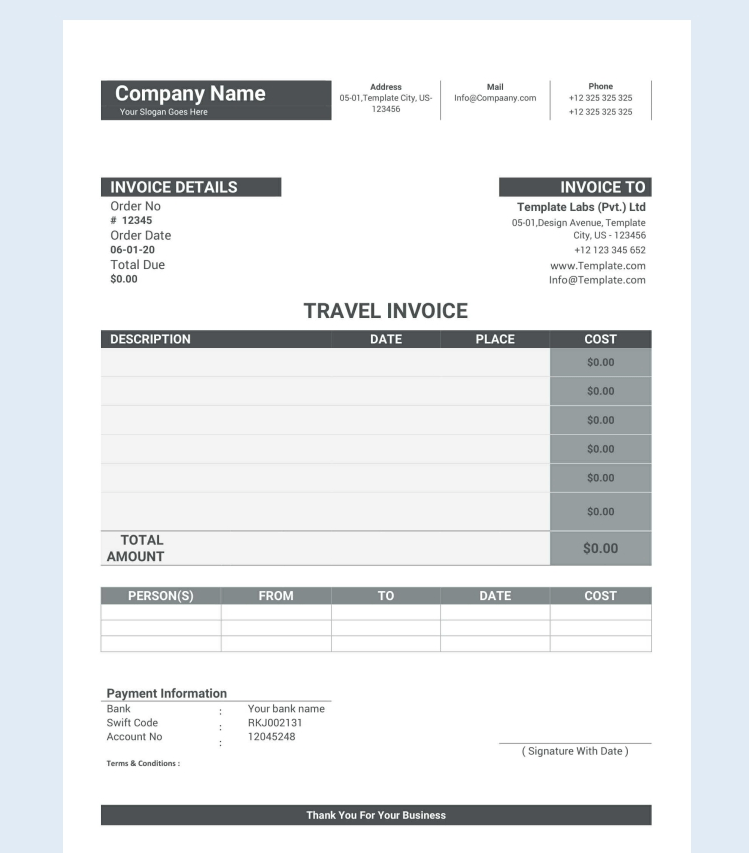 Sample Travel Invoice Format