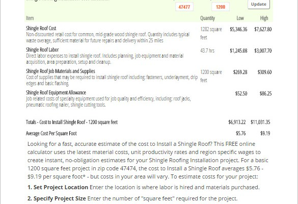 Shingle Roofing Installation Cost Calculator Template Free