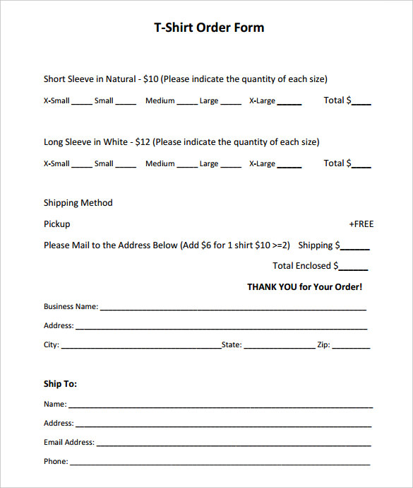 Short Sleeve T-Shirt Order Form Template PDF Printable