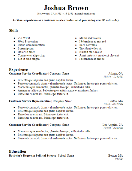 Strong Professional Summary Skills Based Resume Template
