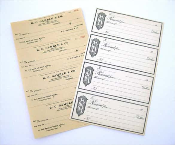 Vintage Blank Bank Checks and Receipt