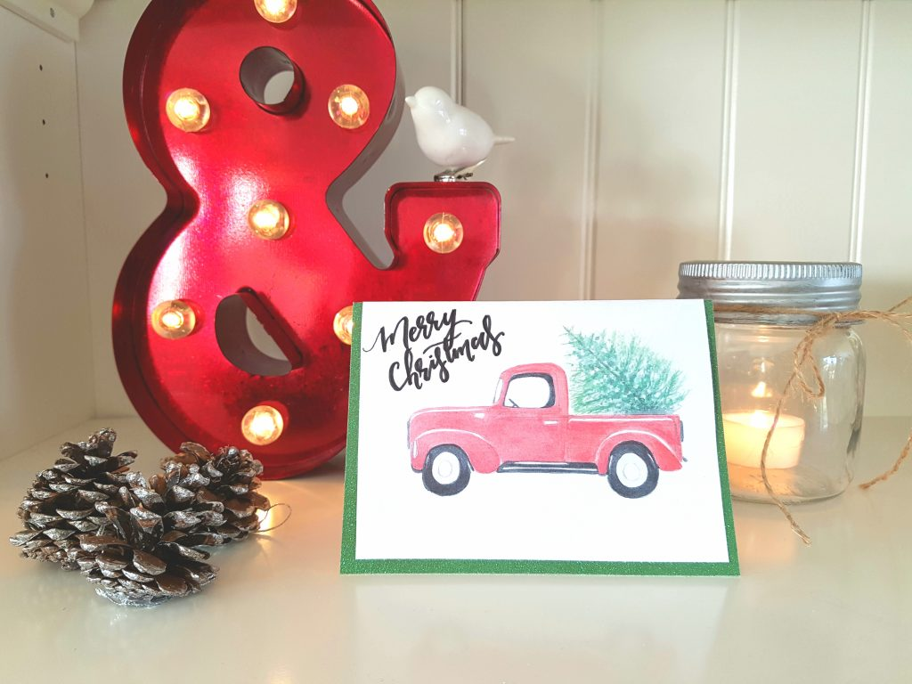 Vintage Truck & Tree Christmas greeting card