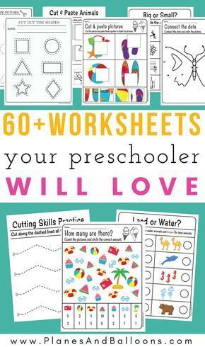 400 Free preschool worksheets in PDF format to print Planes & Balloons