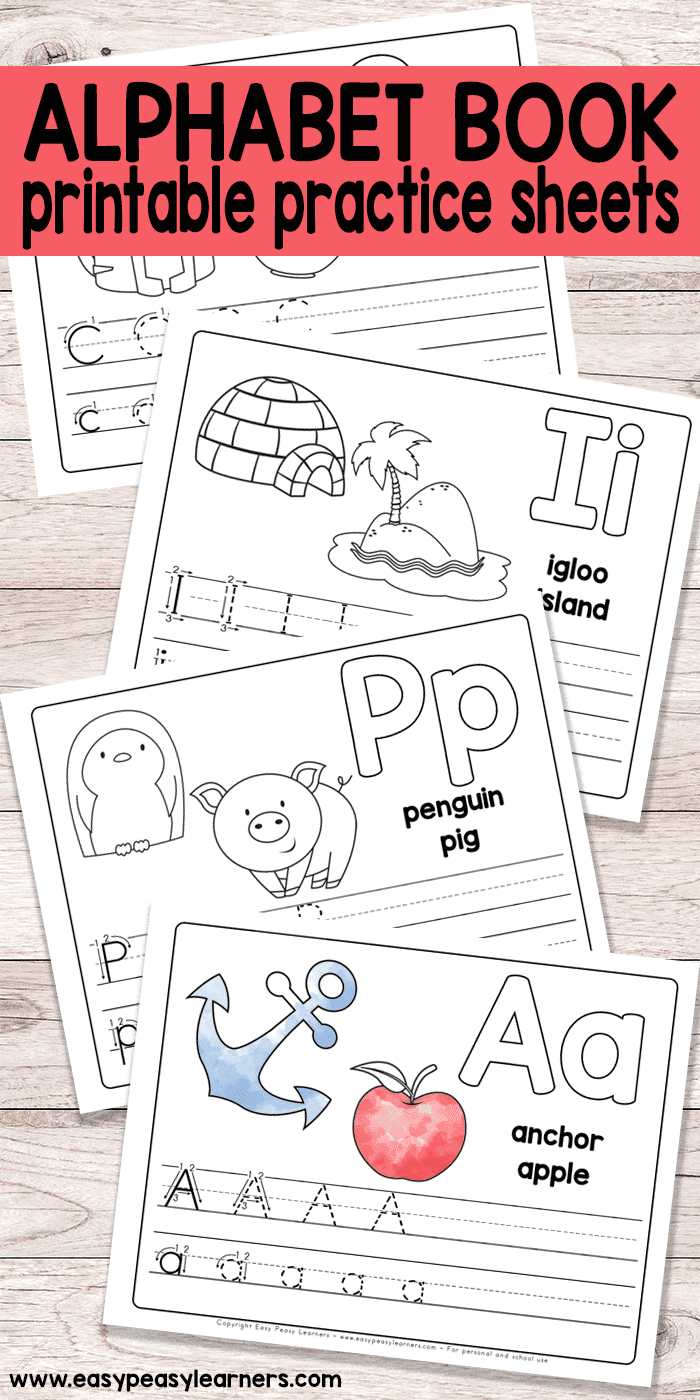 Free Printable Alphabet Book Alphabet Worksheets for Pre K and K Easy Peasy Learners