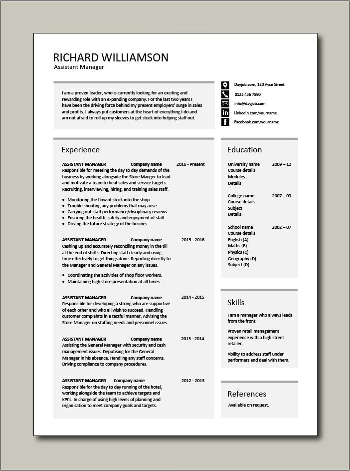 Free Assistant Manager resume template 3