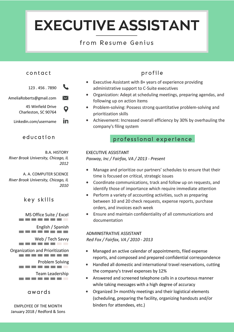 Executive Assistant Resume Example & Writing Tips