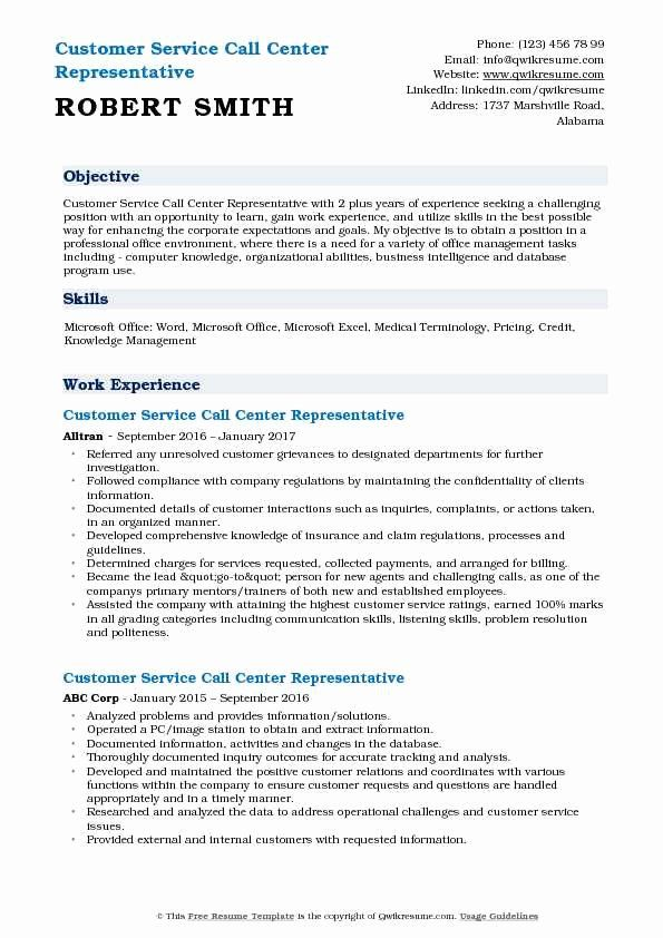 Call Center Resume Description Fresh Customer Service Call Center Representative Resume Samples