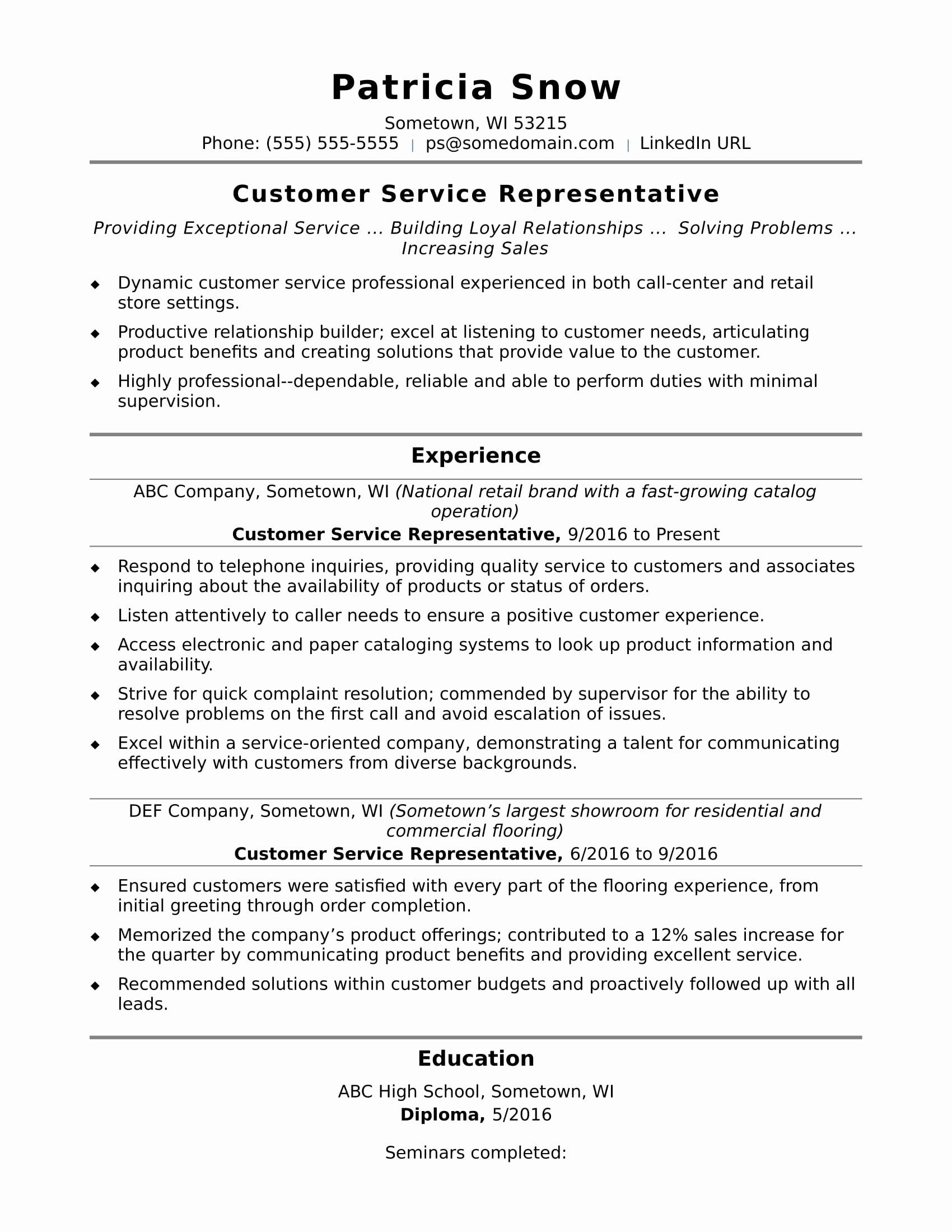 Entry Level Customer Service Resume Lovely Customer Service Representative Resume Sample
