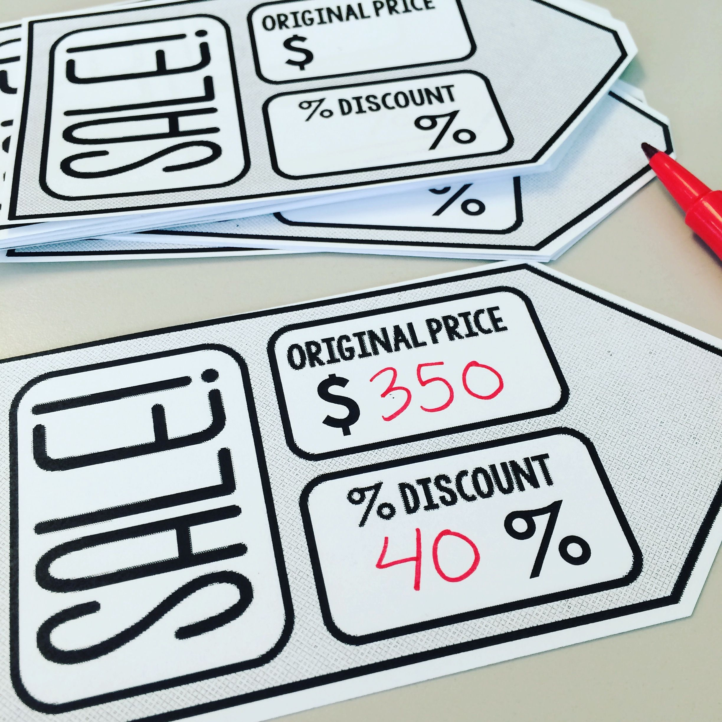 Consumer Math Worksheets Of Editable Sale Tags For A